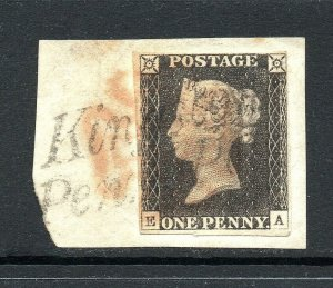 GB QV SG2 1d Black Plate 3 On Piece with Kingston Penny Post Cancel Cat £3,000
