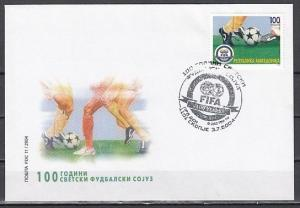 Macedonia, Scott cat. 309. FIFA, Soccer Centenary issue on a First day cover.