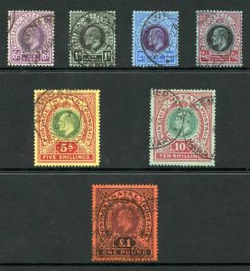 Natal SG165/71 KEVII Set Inscr Postage Postage