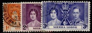 SIERRA LEONE GVI SG185-187, CORONATION set, FINE USED.