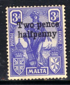 Malta 1925 KGV 2 1/2d Ovpt 3d Ultramarine No Gum SG 142 ( B1315 )