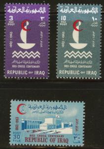 IRAQ Scott 336-338 MH* 1963 Red Cross centennial set