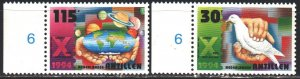 Antilles. 1994. 822-23. Christmas, New Year, dove, hands, planets. MNH.