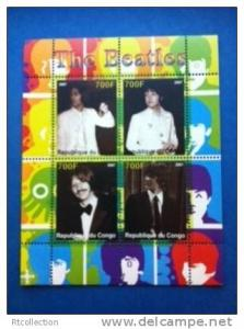 Congo 2007 The Beatles Singer People Music Artist Musician Band M/S Stamps MNH
