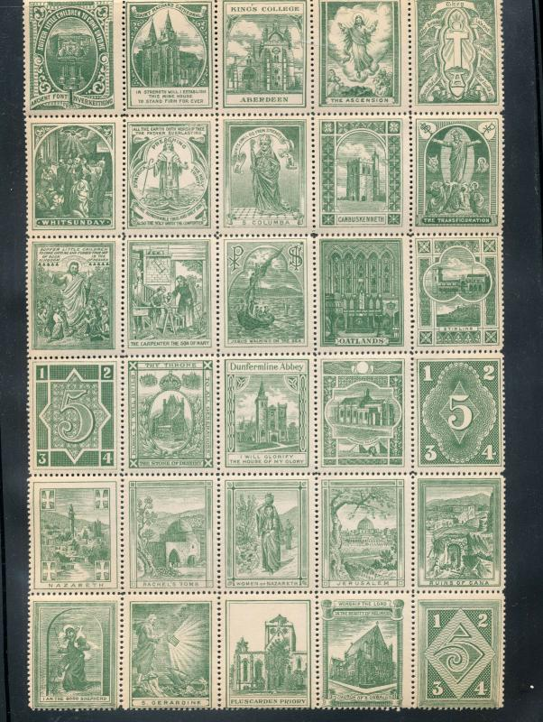 Aberdeen Jerusalem Abbey Religion OLD Poster Labels MNH(Approx 140) S2