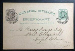 1896 Johannesburg South Africa Stationery Postcard Cover To Cape Colony