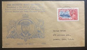 1935 St Kitts & Nevis Cover King George V Silver Jubilee To Lorain Oh USA