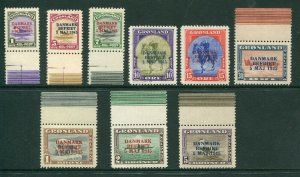 Greenland 1945 Scott 19-27 Liberation Overprint Complete Set, Mint NH