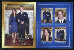 BEQUIA  ENGAGEMENT OF PRINCE WILLIAM & KATE MIDDLETON  IMPERF SHEET I  NH