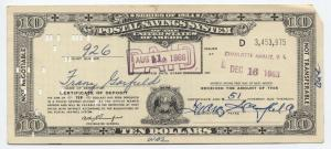 $10 Series of 1954 Postal Savings Certificate Virgin Islands! [4426.1]