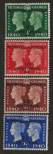 GREAT BRITAIN OFFICES - MOROCCO SC# 89-92  FVF/MOG 1940