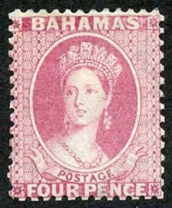 Bahamas SG26 4d Bright Rose Wmk Crown CC Perf 12.5 Fresh M/M (reperfed)