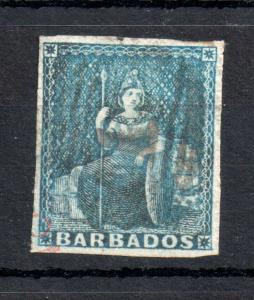 Barbados  QV 1855 1d blue SG#10 4 Margins fine used WS13508