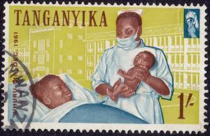 Tanganyika - 1961 - Scott #51 - used - Nurse Hospital