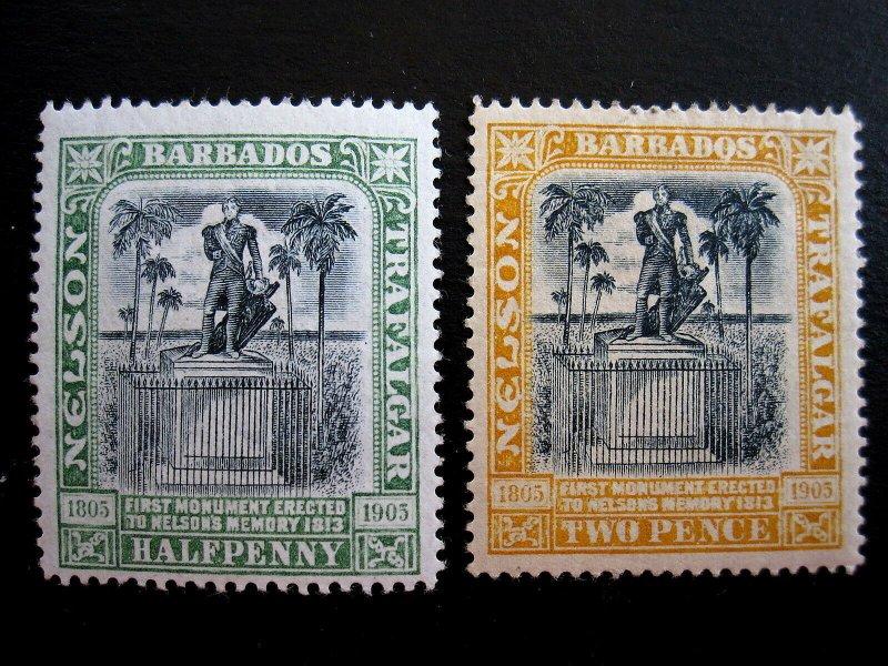 BARBADOS - SCOTT#103,105 - MH - CAT VAL $16.00
