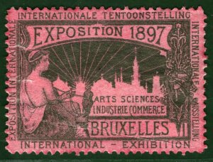 BRUSSELS EXHIBITION STAMP/LABEL Belgium 1897 *ROSE PAPER* Mint MM B2WHITE32