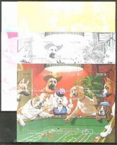 Turkmenistan 1999 Gambling Dogs composite sheetlet contai...
