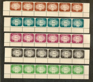 Israel Scott #J12-20 1952 3rd Postage Dues Complete Tab Rows MNH!!
