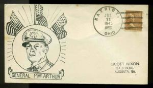 1945 WW2 PATRIOTIC SHERMAN #2807 HUSS PUBLISHER PATRIOT, OH HAND CANCEL WWII