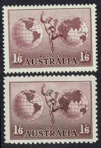 AUSTRALIA 1934 HERMES 1/6 WITH AND WITHOUT WMK
