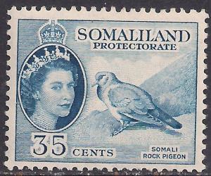 Somaliland 1953 - 58 QE2 35 ct Blue MM SG 142 ( R1032 )