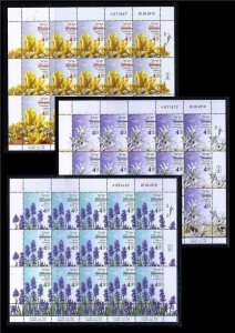 ISRAEL 2019 AUTUMN FLOWERS SET OF 3 SHEETS 15 STAMPS MNH FLORA