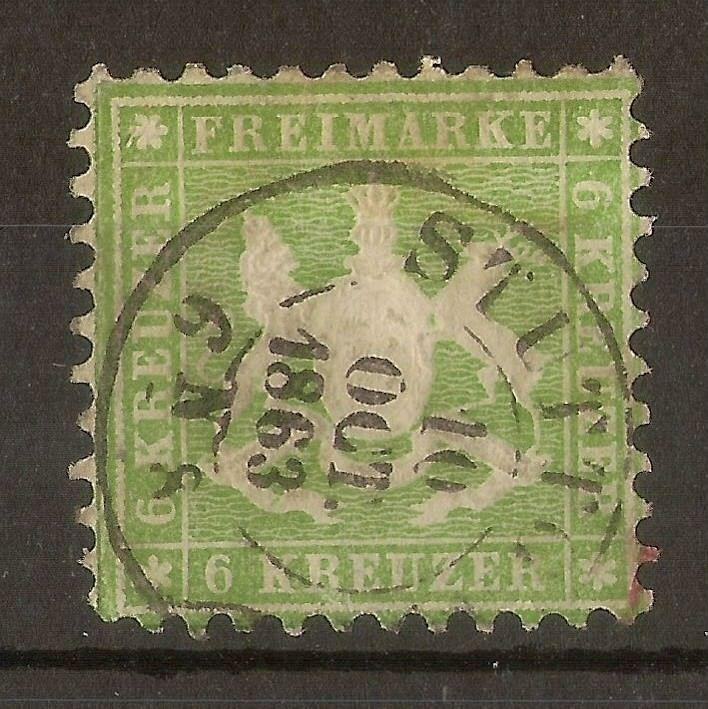 Wurttemberg 1862 6k SG47 Fine Used Cat£225
