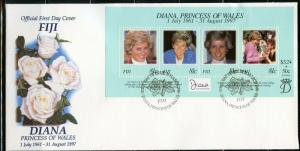 FIJI 1998 DIANA PRINCESS OF WALES MEMORIAL SOUVENIR  SHEET FIRST DAY COVER