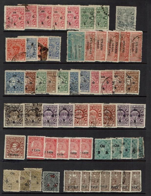 Cochin & Travancore - 60 Older Issues Mint Hinged / Used (Some Dup) - Lot 032617