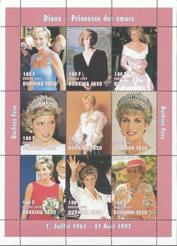 Burkina Faso MNH S/S Princess Diana 1997