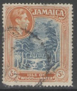 JAMAICA SG132a 1941 5/= SLATE-BLUE & YELLOW-ORANGE p14 LINE FINE USED