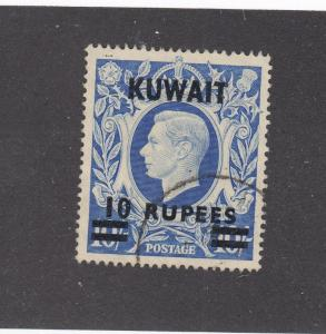 KUWAIT  # 81A VF-USED 10r on 10sh  KGVI / O/PRINT KUWAIT 10 RUPEES CAT VAL $12