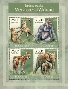 Withdrew 02-13-19-Togo - African Endangered Species - 4 Stamp Sheet - 20H-589
