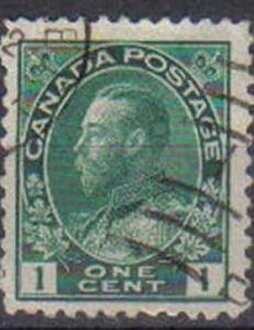 CANADA, 1912, used 1c. green,   King George (so-called Admirals)