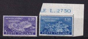 1951 - ITALY - Abbey of Montecassino - SC# 579-580 - MNH VF **