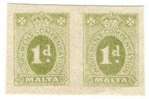 (I.B) Malta Revenue : Workmen's Compensation 1d (Original Proof)