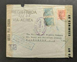 1945 Rio De Janeiro Censored Airmail Cover to Baltimore MD USA