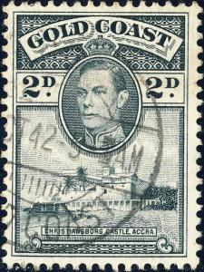 GOLD COAST - 1942 SG 123a KGVI 2d p.12x11 1/2 (Aug 42 med. white paper printing)