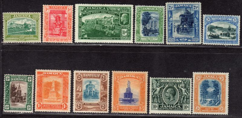 $Jamaica Sc#75-87 M/LH/F-VF, complete set, sm. thin on #78 low value, Cv. $200