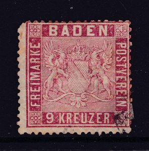 Baden a used 9k rose from 1860 used but!!!!