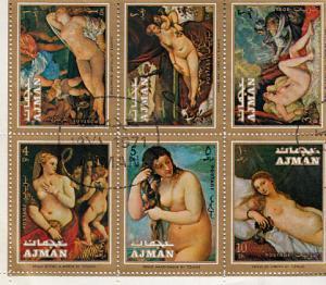 Nudes Block of Six Cancelled Ajman