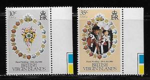 Virgin Islands 406-7 Diana Wedding Inverted Watermark MNH