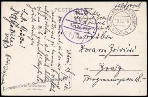 Austria WWI KuK Marine Navy Ship SMS Erzherzog Friedrich Feldpost Card 70324