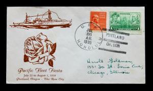 US Stamp Sc# 790 + 803 USS Honolulu Naval Cover Pacfic Fleet Fiesta 7-26-1939