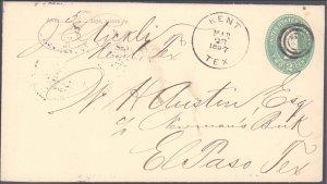 Culberson County Kent ( Postal History ), 1897