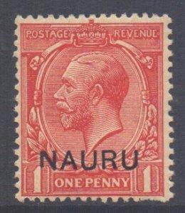 Nauru Scott 2 - SG2, 1916 George V 1d Overprint at Foot MH*