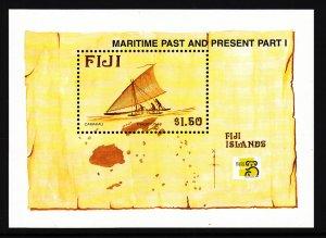 Fiji 834 Canoe Map Map Souvenir Sheet MNH VF