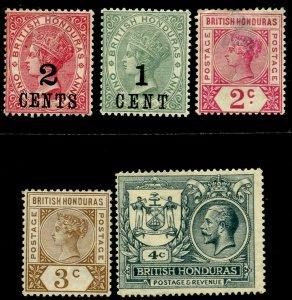 BRITISH HONDURAS Sc#28, 39, 40, 47, 90 1888-1922 5 Different Stamps OG Mint