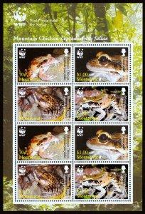 Montserrat Scott 1159 (2006) World Wildlife Fund, Frogs Sheet, Mint NH VF C