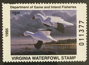 1995 Virginia State Duck stamp MNH, VA8, $5 FV